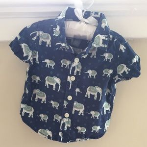 🆕 Baby Gap Short-Sleeve Blue Elephant Button-Up